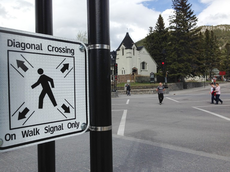 Diagonal Crossing Sign on an Intersection