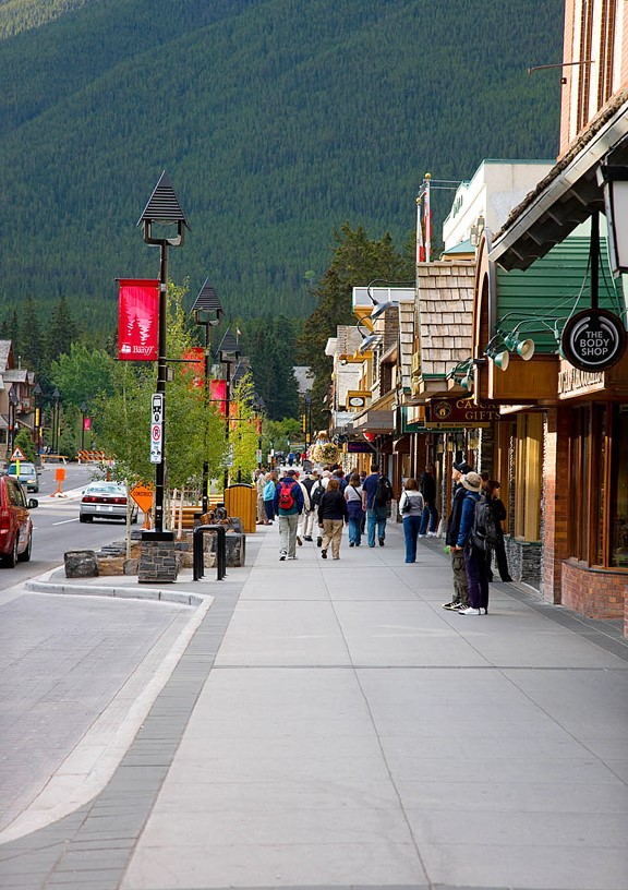Citizens Walking on the Sidewalks of Downtown Banff
