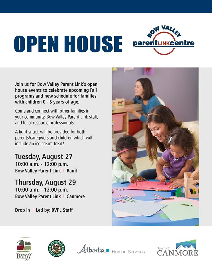 Bow Valley Parent Link Open House poster