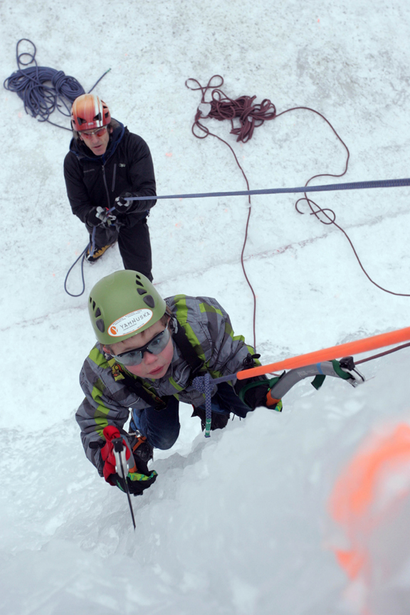 Ice climbing in downtown Banff
