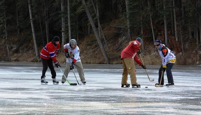 Playing hockey on the river