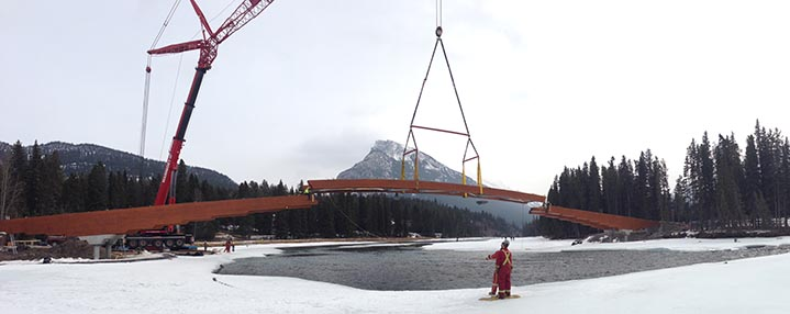 Bridge craned into place